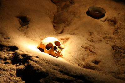 In the extreme darkness, Poncho led us carefully to this spot, and then dramatically illuminated this stunning object on the floor - the skull of a sacrificial victim.