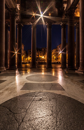 the pantheon entry, looking back out at the piazza. 4am. Alone. Silent. Intense.